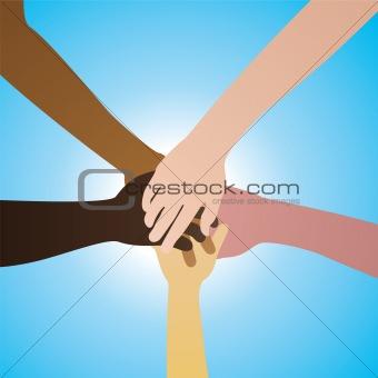 five hands in agreement