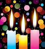 colorful candles with lights