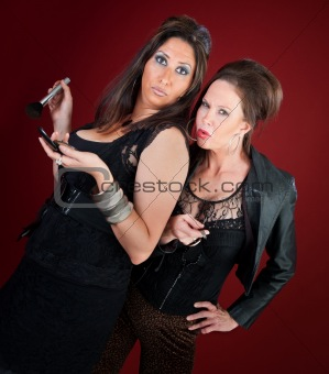 Two Jersey style housewives women do makeup and nails