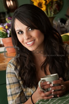 Beautiful Latina Woman with Cofee or Tea