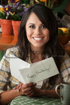 Beautiful Latina Woman with Birthday Card