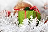 Christmas green box and balls