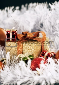 Golden Christmas decoration box