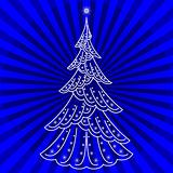 Christmas fir-tree on blue