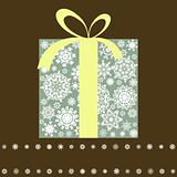 Retro gift box with bow. EPS 8