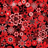 Seamless red and black flowers
