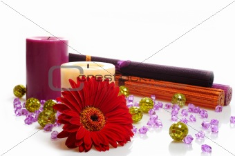 beautiful spa background with 2 candles and flower. isolated on