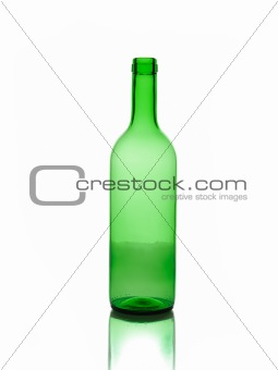one empty green wine bottles isolated on white background