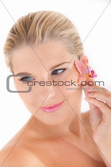 beautiful pure spa girl with flower