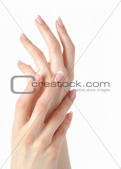 Beautiful hands with perfect nail french manicure