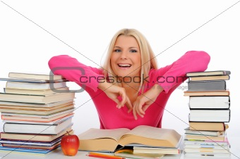 portrait of young student woman with lots of books  studing