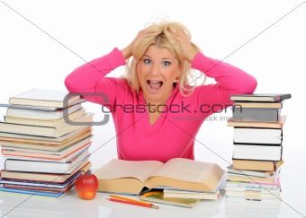 portrait of young  student girl with lots of books in panic