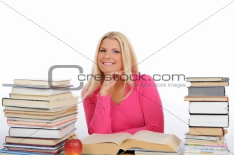 portrait of young student girl with lots of books  studing