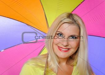 Portrait of pretty autumn woman standing under umbrella.