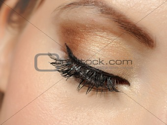 Beautiful macro shot of eye with long lashes and make-up