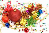 Red Christmas baubles and other decorations
