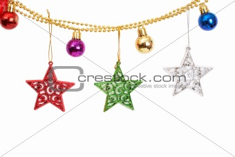 Christmas baubles and stars