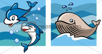 Marine life: dolphins and whale