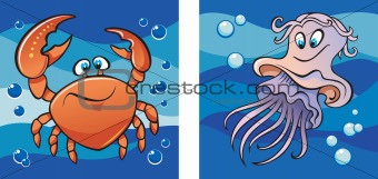 Marine life: crab and jellyfish