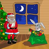 Santa Claus and Christmas rabbit with bag of gifts