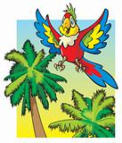 Parrot flying above the palm trees
