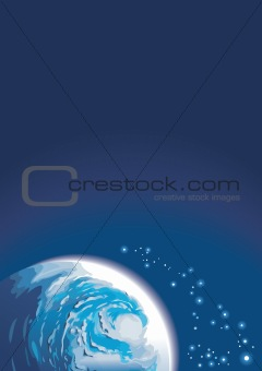 Background with space and planet