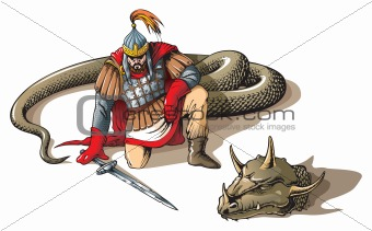 Warrior and a giant snake