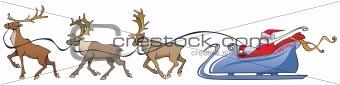 Santa Claus reindeer sleighing