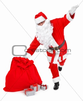 funny pose of santa claus on white
