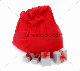 sack of Santa Claus and gifts