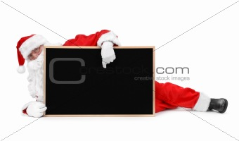 Santa claus and small blackboard