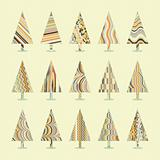Set of Retro Christmas Trees. EPS 8