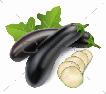 aubergine with leaves