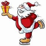 Skating Santa with gift