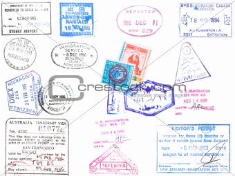 Passport stamps and visa's