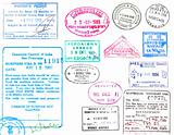 Passport stamps on a white background