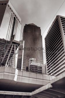 Skyscrapers and bridge