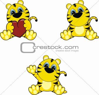 tiger baby cartoon set