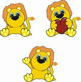 lion baby cartoon set