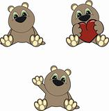 teddy bear baby cartoon set