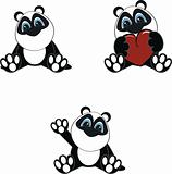 panda bear baby cartoon set