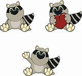 raccoon baby cartoon set