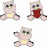 pig baby cartoon set