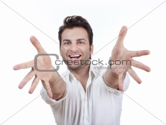 excited man in shirt with both arms outstretched toward camera - isolated on white