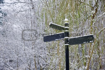 Blank signpost in snow covered forest with space for your text