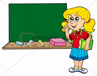 Advising school girl with blackboard