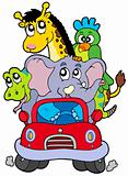 African animals in red car