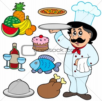 Cartoon chef with various meals