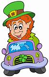 Cartoon leprechaun driving car