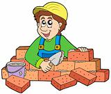 Happy bricklayer